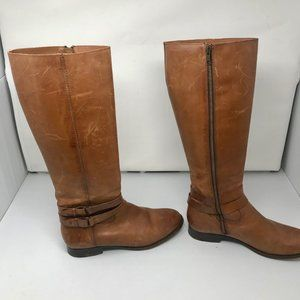 Frye Brown / Tan Full Zipper Leather Boots Scuffs